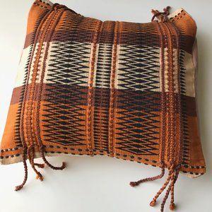 Boho accent woven pillow